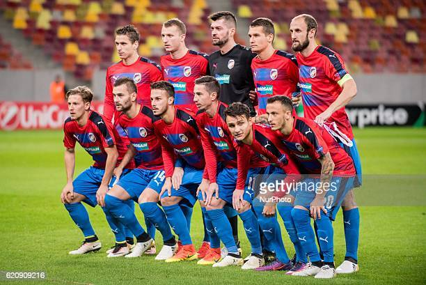Viktoria Plzen team at the begining of the UEFA Europa League 20162017 Group E game between FC Astra Giurgiu and FC Viktoria Plzen at National Arena...