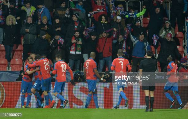 Viktoria Plzen's celebrate after scoring during the UEFA Europa League round of 32, first-leg football match between Viktoria Plzen and Dinamo Zagreb...