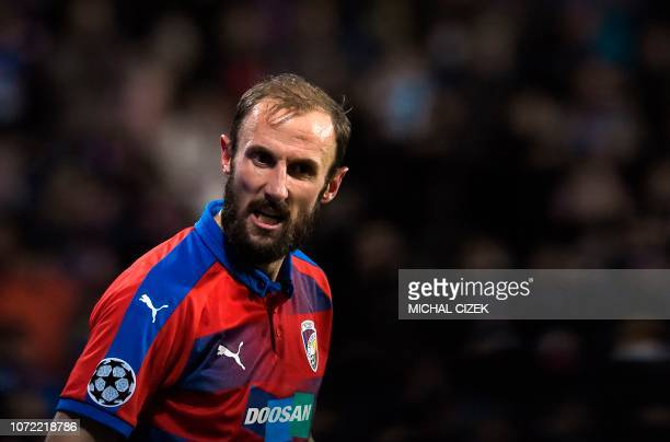 Viktoria Plzen's Czech defender Roman Hubnik reacts after the UEFA Champions League group G football match between FC Victoria Plzen and AS Roma in...