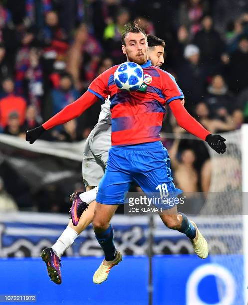 Viktoria Plzen's Czech forward Tomas Chory stops the ball during the UEFA Champions League group G football match between FC Victoria Plzen and AS...