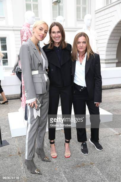 Viktoria Rader Annette Weber and Eva Hein chief designer during the Strenesse presentation as part of Der Berliner Salon Spring/Summer 2019 at...