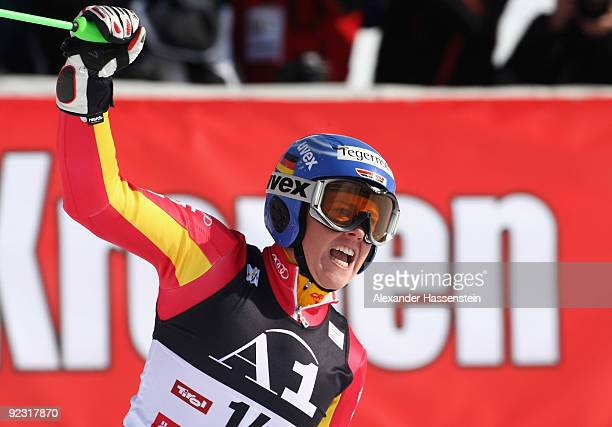 Viktoria Rebensburg of Germany celebrates after competing in the Women's giant slalom event of the Woman's Alpine Skiing FIS World Cup at the...