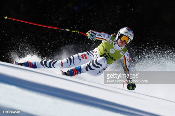 Viktoria Rebensburg of Germany competes during the Audi FIS Alpine Ski World Cup Men's and Women's Super G on March 14, 2019 in Soldeu Andorra.