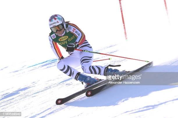 Viktoria Rebensburg of Germany competes during the Audi FIS Alpine Ski World Cup Women's Giant Slalom at Rettenbachferner on October 26 2019 in...