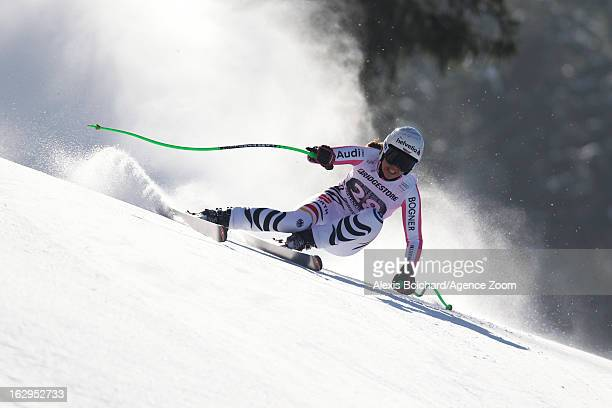 Viktoria Rebensburg of Germany competes during the Audi FIS Alpine Ski World Cup Women's Downhill on March 02 2013 in GarmischPartenkirchen Germany