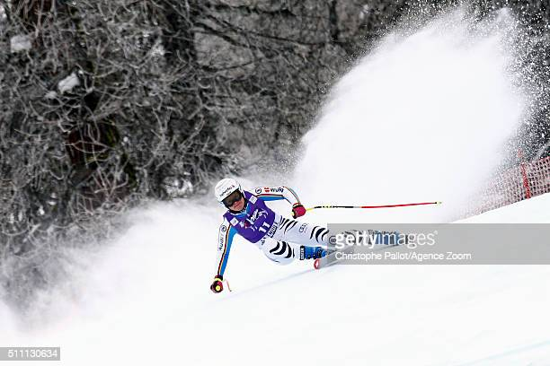 Viktoria Rebensburg of Germany competes during the Audi FIS Alpine Ski World Cup Women's Downhill Training on February 18 2016 in La Thuile Italy