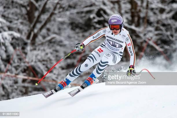 Viktoria Rebensburg of Germany competes during the Audi FIS Alpine Ski World Cup Women's Downhill on February 3 2018 in GarmischPartenkirchen Germany