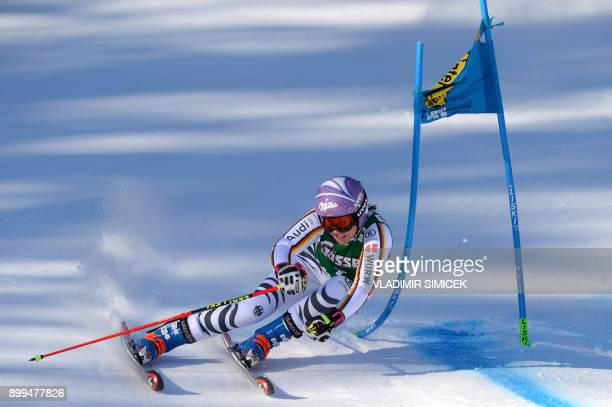 Viktoria Rebensburg of Germany competes during the Ladies' Giant Slalom event of the FIS Ski World Cup in Lienz Austria on December 29 2017 / AFP...