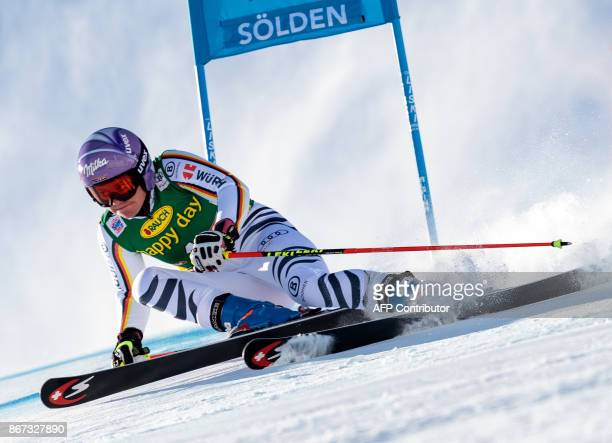 Viktoria Rebensburg of Germany competes during the women's Giant Slalom event of the FIS ski World cup in Soelden Austria on October 28 2017 / AFP...