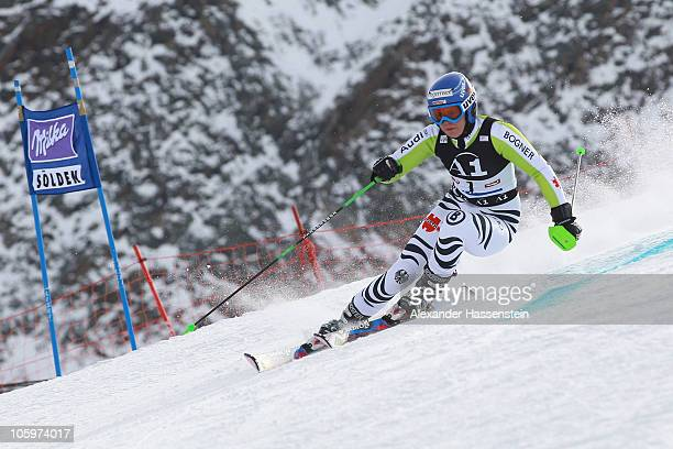 Viktoria Rebensburg of Germany competes in the women's giant slalom event of the Woman's Alpine Skiing FIS World Cup at the Rettenbachgletscher on...