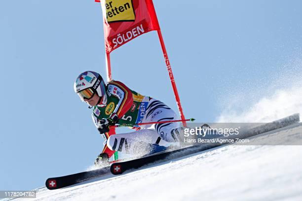 Viktoria Rebensburg of Germany in action during the Audi FIS Alpine Ski World Cup Women's Giant Slalom on October 26, 2019 in Soelden, Austria.