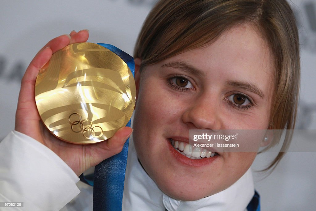 Viktoria Rebensburg of Germany poses with the gold medal for the women's giant slalom alpine skiing on day 14 of the Vancouver 2010 Winter Olympics at the German house on February 25, 2010 in Whistler, Canada.