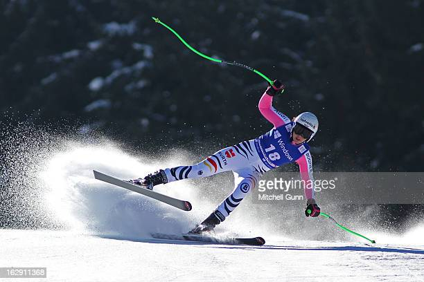 Viktoria Rebensburg of Germany races down the course competing in the Audi FIS Ski World Cup Women's SuperG on March 01 2013 in Garmisch...