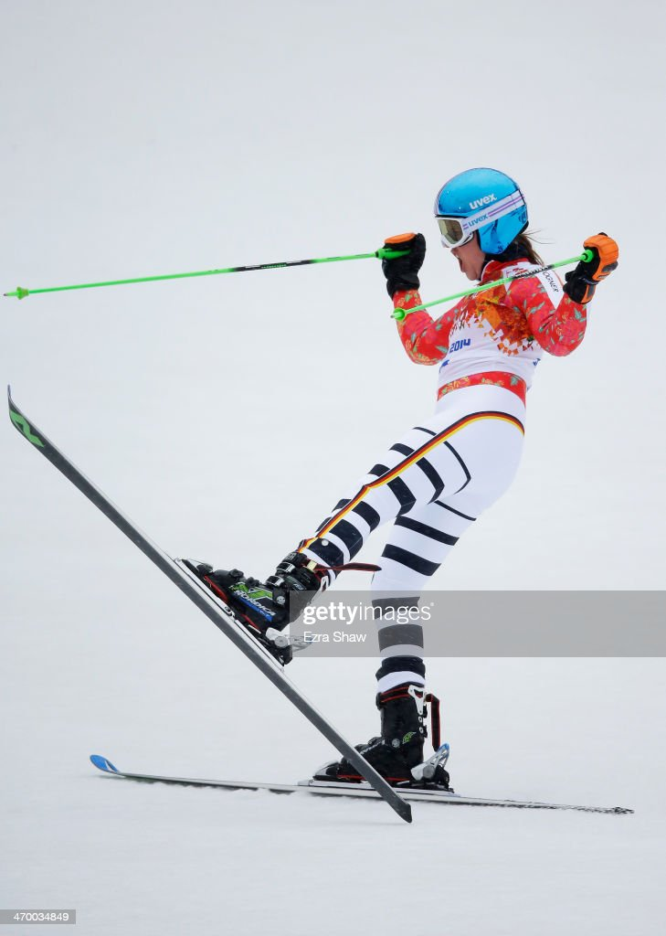 Viktoria Rebensburg of Germany reacts after a run during the Alpine Skiing Women's Giant Slalom on day 11 of the Sochi 2014 Winter Olympics at Rosa Khutor Alpine Center on February 18, 2014 in Sochi, Russia.