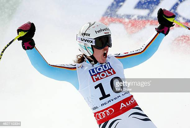 Viktoria Rebensburg of Germany reacts after crossing the finish line of the Ladies' SuperG in Red Tail Stadium on Day 2 of the 2015 FIS Alpine World...