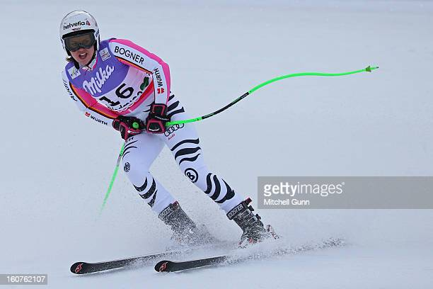 Viktoria Rebensburg of Germany reacts in the finish area after competing in the Alpine FIS Ski World Championships super giant slalom race on...