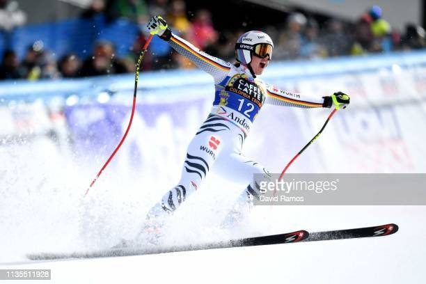 Viktoria Rebensburg of Germany reacts to her run during the Women's Downhill on March 13, 2019 in Andorra la Vella, Andorra.
