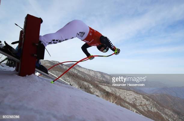 Viktoria Rebensburg of Germany starts a run during Alpine Skiing Ladies' Downhill Training on day 10 of the PyeongChang 2018 Winter Olympic Games at...
