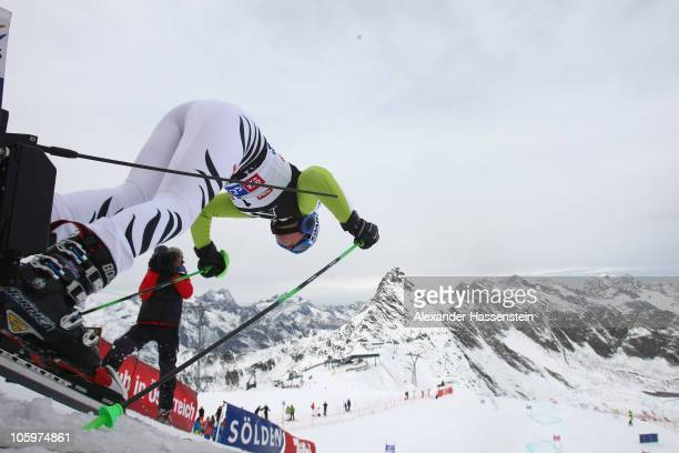 Viktoria Rebensburg of Germany starts in the 2nd run at the women's giant slalom event of the Woman's Alpine Skiing FIS World Cup at the...