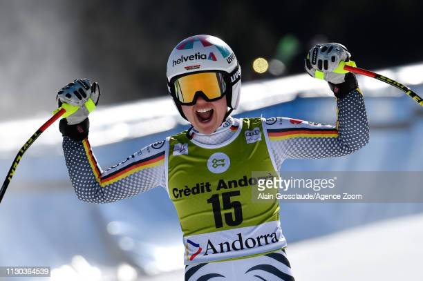 Viktoria Rebensburg of Germany takes 1st place during the Audi FIS Alpine Ski World Cup Men's and Women's Super G on March 14, 2019 in Soldeu Andorra.
