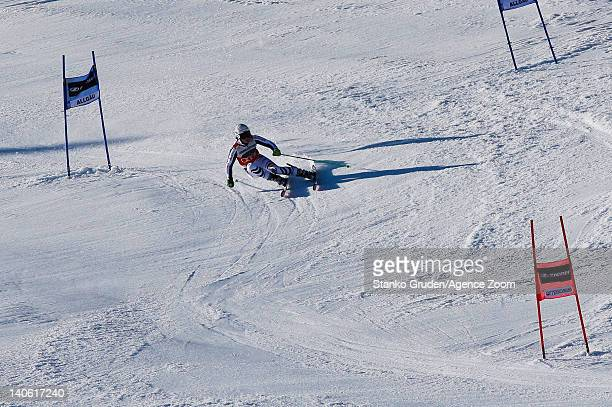 Viktoria Rebensburg of Germany takes 1st place during the Audi FIS Alpine Ski World Cup Women's Giant Slalom on March 3 2012 in Ofterschwang Germany