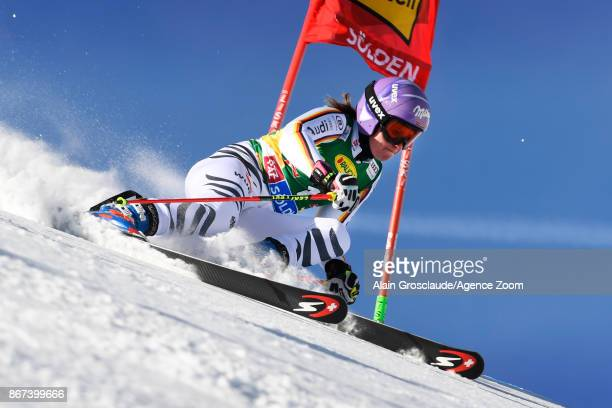 Viktoria Rebensburg of Germany takes 1st place during the Audi FIS Alpine Ski World Cup Women's Giant Slalom on October 28 2017 in Soelden Austria
