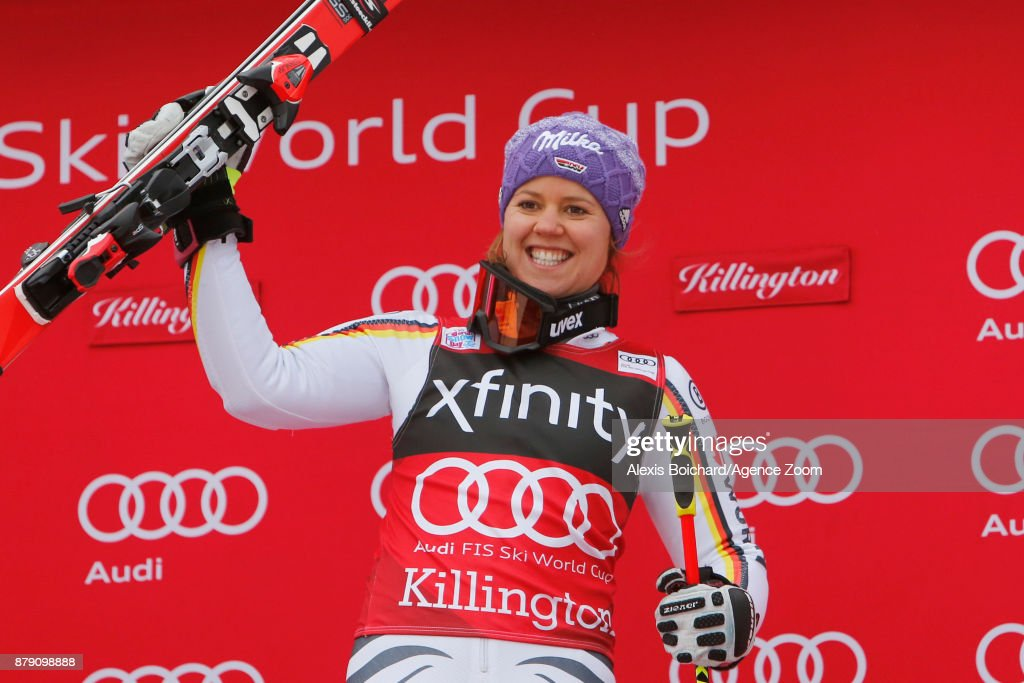 Viktoria Rebensburg of Germany takes 1st place during the Audi FIS Alpine Ski World Cup Women's Giant Slalom on November 25, 2017 in Killington, Vermont.