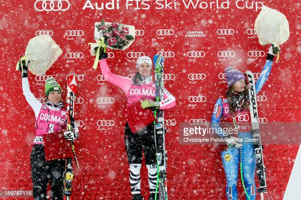 Viktoria Rebensburg of Germany takes 1st place Nicole Schmidhofer of Austria takes 2nd place Tina Maze of Slovenia takes 3rd place competes during...