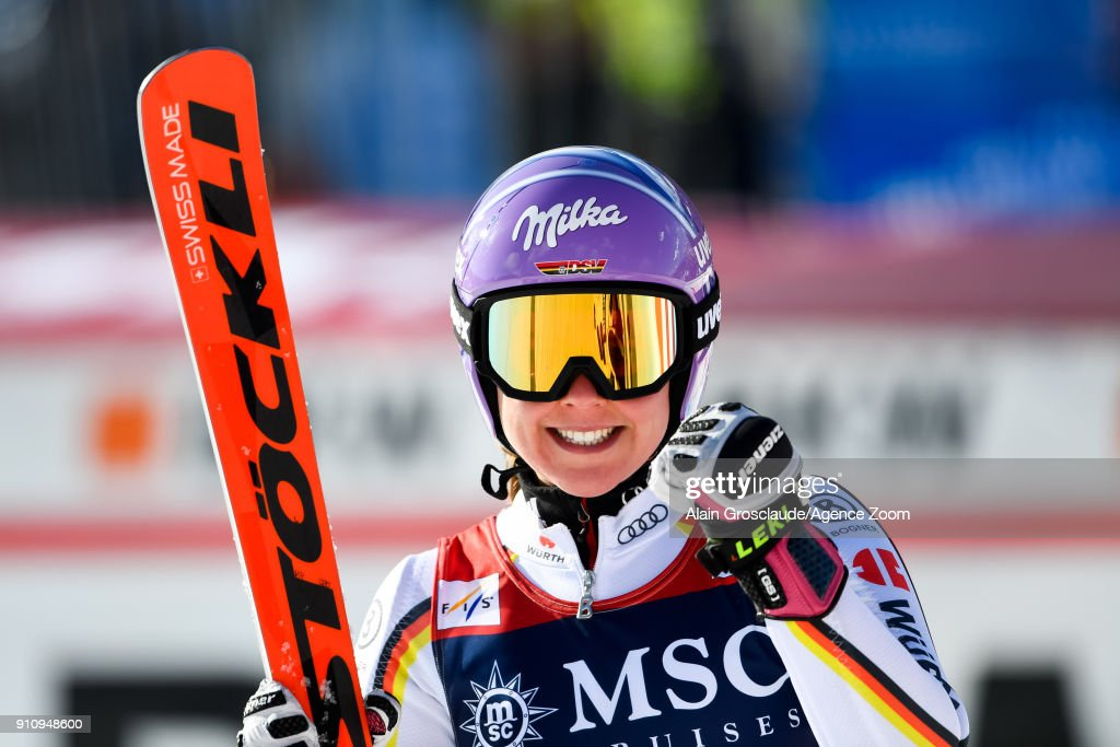 Viktoria Rebensburg of Germany takes 2nd place during the Audi FIS Alpine Ski World Cup Women's Giant Slalom on January 27, 2018 in Lenzerheide, Switzerland.