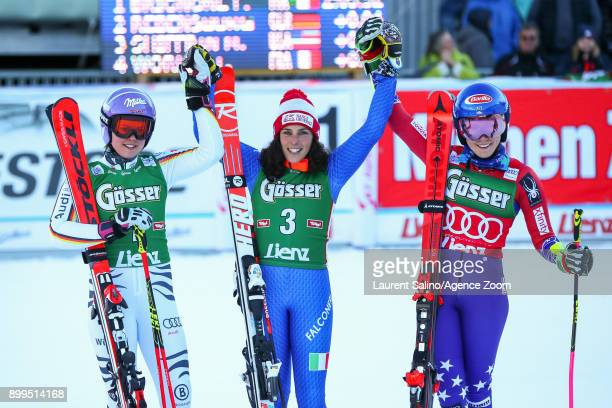 Viktoria Rebensburg of Germany takes 2nd place Federica Brignone of Italy takes 1st place Mikaela Shiffrin of USA takes 3rd place during the Audi FIS...
