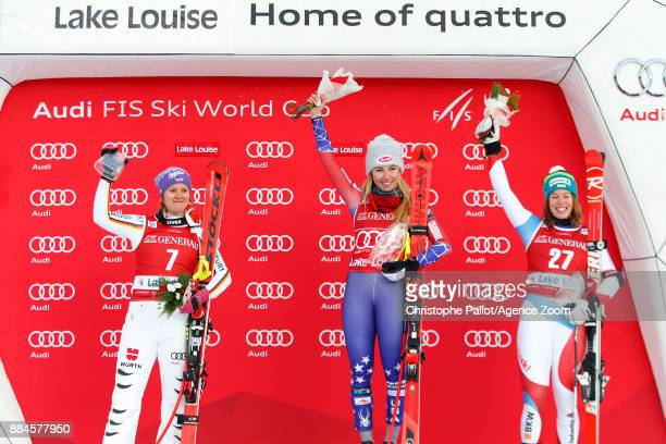 Viktoria Rebensburg of Germany takes 2nd place Mikaela Shiffrin of USA takes 1st place Michelle Gisin of Switzerland takes 3rd place during the Audi...