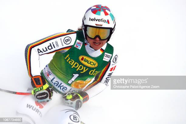 Viktoria Rebensburg of Germany takes 3rd place during the Audi FIS Alpine Ski World Cup Women's Super G on December 2, 2018 in Lake Louise Canada.