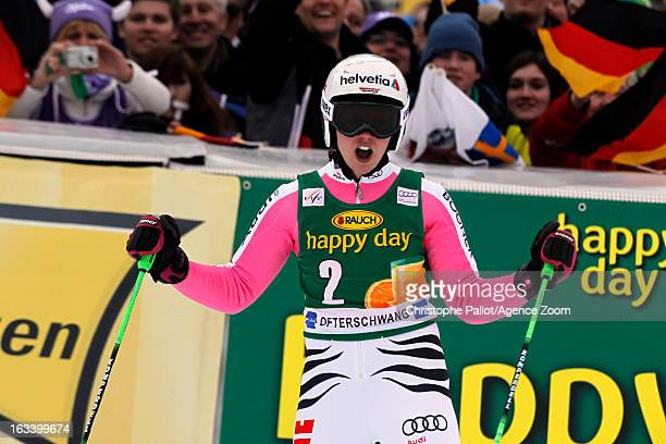 Viktoria Rebensburg of Germany takes 3rd place during the Audi FIS Alpine Ski World Cup Women's Giant Slalom on March 9 2013 in Ofterschwang Germany