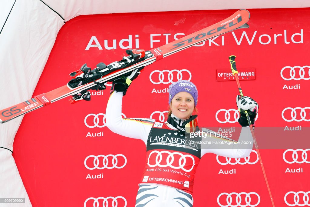 Viktoria Rebensburg of Germany takes joint 2nd place during the Audi FIS Alpine Ski World Cup Women's Giant Slalom on March 9, 2018 in Ofterschwang, Germany.