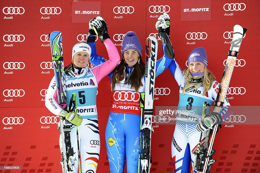 Viktoria Rebensburg of Germany, Tina Maze of Slovenia and Tessa Worley of France on the podium during the Audi FIS Alpine Ski World Cup Women's Giant Slalom on December 09, 2012 in St. Moritz, Switzerland.