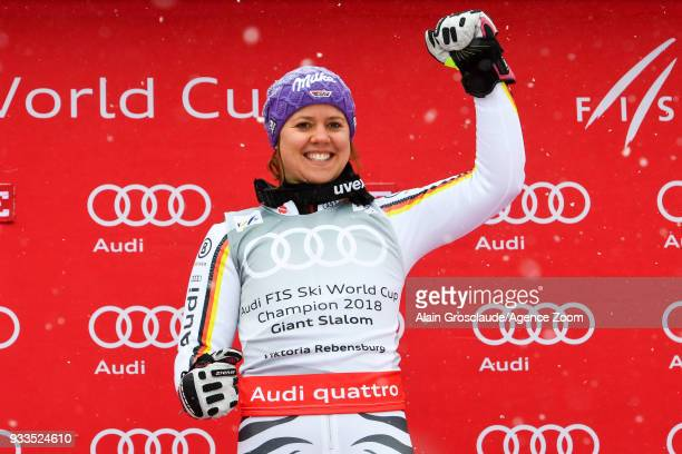 Viktoria Rebensburg of Germany wins the globe during the Audi FIS Alpine Ski World Cup Finals Women's Giant Slalom on March 18 2018 in Are Sweden