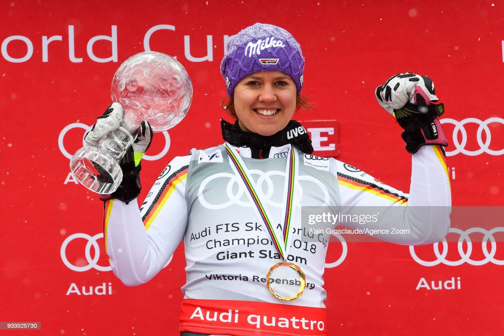 Viktoria Rebensburg of Germany wins the globe during the Audi FIS Alpine Ski World Cup Finals Women's Giant Slalom on March 18, 2018 in Are, Sweden.