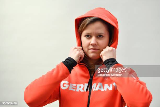 Viktoria Rebensburg poses with a jacket at the 2018 PyeongChang Olympic Games German Team Kit Handover at Postpalast on January 15 2018 in Munich...