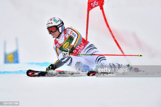 Viktoria Regensburg of Germany competes in the Women's giant slalom at the FIS ski World cup on October 27 2018 in Soelden Austria