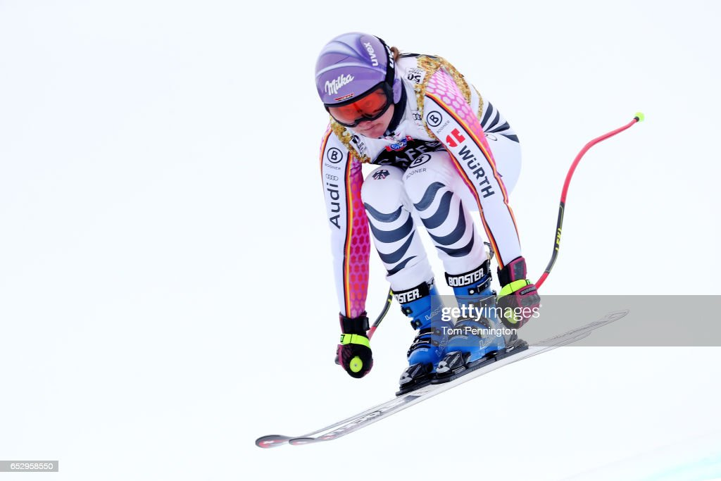 Viktoria Rubensburg of Germany skis during a training run for the ladies' downhill at the Audi FIS Ski World Cup Finals at Aspen Mountain on March 13, 2017 in Aspen, Colorado.