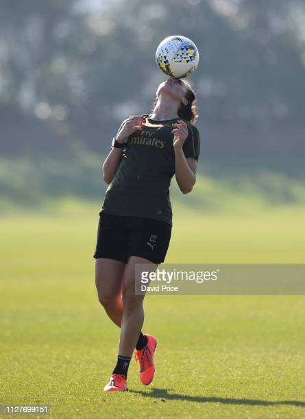 Viktoria Schnaderbeck of Arsenal during the Arsenal Women Training Session at London Colney on February 27 2019 in St Albans England