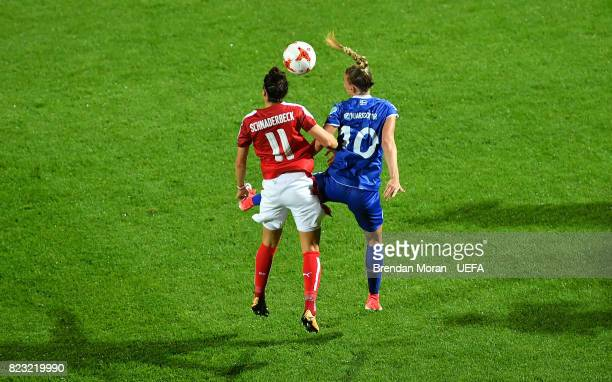 Viktoria Schnaderbeck of Austria and Dagn BrynjarsdÛttir of Iceland during the UEFA Women's EURO 2017 Group C match between Iceland and Austria at...