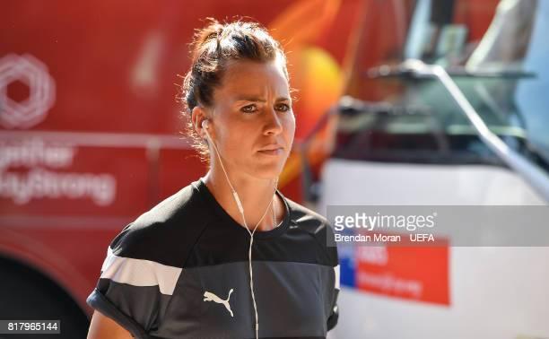 Viktoria Schnaderbeck of Austria arrives prior to the UEFA Women's EURO 2017 Group C match between Austria and Switzerland at Stadion De...