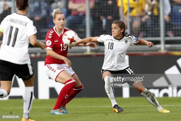Viktoria Schnaderbeck of Austria women Cecilie Sandvej of Denmark Laura Feiersinger of Austria women during the UEFA WEURO 2017 semifinal match...