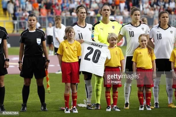 Viktoria Schnaderbeck of Austria women goalkeeper Manuela Zinsberger of Austria women Nina Burger of Austria women Laura Feiersinger of Austria women...