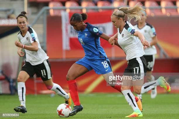 Viktoria Schnaderbeck of Austria women MarieLaure Delie of France women Sarah Puntigam of Austria women during the UEFA WEURO 2017 Group C group...