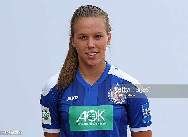Viktoria Schwalm poses during the official women's team presentation of 1FFC Turbine Potsdam at Luftschiffhafen on July 31 2015 in Potsdam Germany