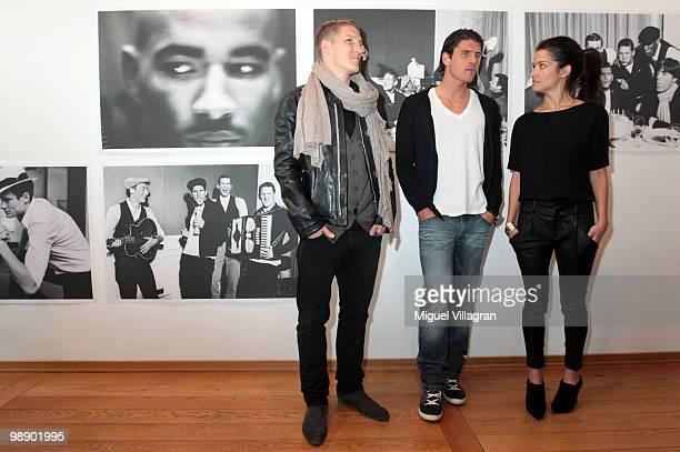 Viktoria Strehle and German football players Bastian Schweinsteiger and Mario Gomez attend the Strenesse book presentation 'Die Spieler' by German...