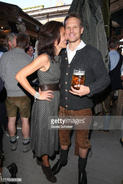 Viktoria Strehle and her husband Markus Mueller during the Oktoberfest 2019 opening at Theresienwiese on September 21 2019 in Munich Germany