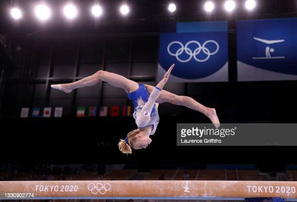 Viktoriia Listunova of Team ROC competes in balance beam during the Women's Team Final on day four of the Tokyo 2020 Olympic Games at Ariake...